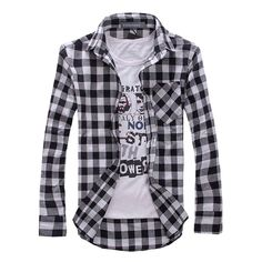 Contemporary Plaid Shirt Material: Cotton, Polyester