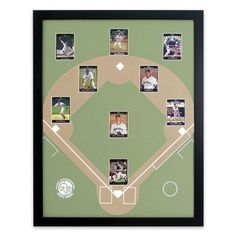 "Display your favorite Baseball Cards. Place your favorite players from your favorite team in their positions on this 22 x 28"" (outside) frame with a baseball diamond backing. Baseball Sports Board. 
