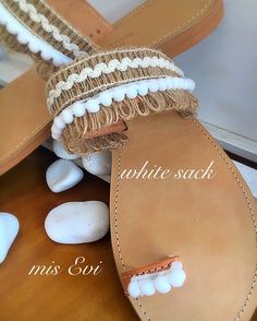 White sack!!!!! Handmade leather sandals Greek Sandals, Handmade Leather, Leather Sandals, Fashion Beauty, Espadrilles, Flats, Style, Espadrilles Outfit, Loafers & Slip Ons