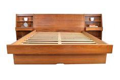 Danish Modern Teak Queen Platform Bed - Mid Century Queen Platform Bed w/ Attached Nightstands & Storage