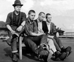 A group of skinheads on 27th April 1970, from left to right, John Harmeston, William Allen, John Dodds and Michael Colligan