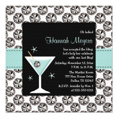 Blue Martini Diamond Bachelorette Party Invitation