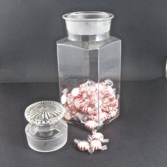 Antique Square Shoulder Apothecary Jar by Hallingtons on Etsy, $57.95