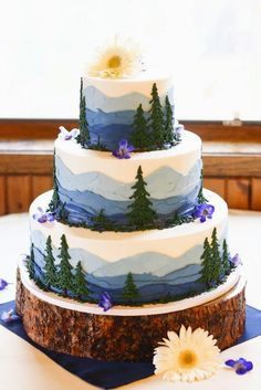 Not sure I'd want this as a wedding cake but love the mountains!