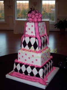 Pink, black, and white cake