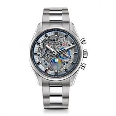 See the Zenith Chronomaster El Primero Grande Date Full Open watch - Movement : Self-winding mechanical - Case : Steel Best Watches For Men, Luxury Watches For Men, Cool Watches, Instruments, Watch Companies, Watch Model, Stainless Steel Case, Watch Bands