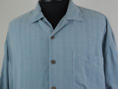 Vintage Tommy Bahama 100% Silk Button Up Blue Mens XL Embroidered Palm Tree