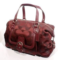 'BNWT, F26243 Coach Campbell Signature Satchel, Bordeaux' is going up for auction at  3pm Sun, Nov 3 with a starting bid of $1.