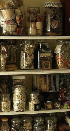 Sewing Room Jars filled with buttons and other sewing notions Sewing Room Storage, Sewing Room Organization, My Sewing Room, Craft Room Storage, Storage Ideas, Craft Rooms, Storage Jars, Food Storage, Organization Ideas