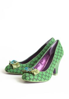 """Charm School Textured Pumps By Poetic Licence 97.99 at shopruche.com. Perfected with a jeweled bow, we adore these classy green pumps with a unique soft texture and sophisticated heel.  Fabric upper, Balance manmade materials, 3.5"""" heel , Slightly padded footbed"""