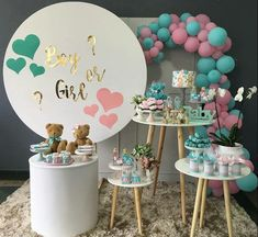 New Baby Reveal Cake Pops Shower Ideas 18 Ideas Decoration Buffet, Deco Buffet, Gender Party, Baby Gender Reveal Party, Idee Baby Shower, Baby Shower Themes, Shower Ideas, Gender Reveal Party Decorations, Baby Shower Decorations