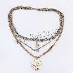 Zinc Alloy Jewelry Necklace, with 2.8lnch extender chain, plated, 3-strand