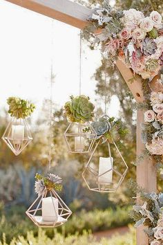 Geometric candle holders for outdoor wedding decro