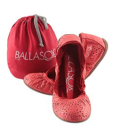 Take+a+look+at+the+Ballasox+Hot+Coral+&+Red+Cutout+Turquesa+Leather+Ballet+Flat+on+#zulily+today!