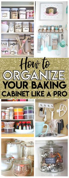 So excited to try these baking cabinet organization ideas to tidy up my cupcake liners, pastry tips and even a way to easily access my cookie trays!! Serious #organizationgoals right here! #organization #baking #kitchenorganization