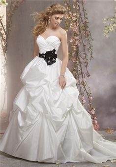 Strapless taffeta ball gown featuring a draped sweetheart bodice and crystallized flowers at the natural waist. The full pick up skirt leads into a chapel length train - Alfred Angelo