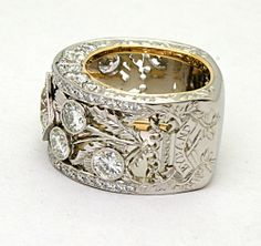 Custom Scottish Thistle diamond ring in platinum and gold, with regimental insignia by Elichai