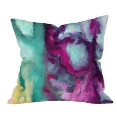 Throw pillow with a multi-hued watercolor motif from DENY Designs. Made in the USA.    Product: PillowConstruction Material: Polyester coverColor: MultiFeatures: Concealed zipperInsert included Designed by Jacqueline Maldonado for DENY Designs Cleaning and Care: Spot clean with mild detergeant