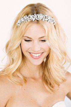 wedding long hair tiara