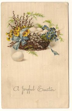 Antique Easter Basket Postcard Eggs Flowers Peter Cotton Tail Embossed German | eBay