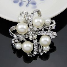 Glass Pearl Brooch, Zinc Alloy, with Glass Pearl, Flower, platinum color plated, with rhinestone, white, nickel, lead & cadmium free, 38x38mm, 3PCs/Bag,china wholesale jewelry beads