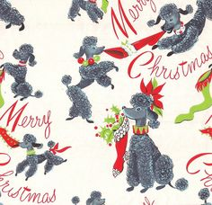 Vintage Christmas Wrapping Paper - Dennison Poodles