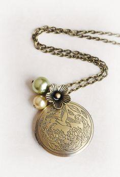 Bird Locket Jewelry Big Locket Jewelry Gold Locket by LimonBijoux, $28.00