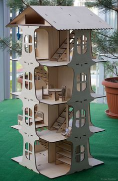 Dollhouse built from laser-cut plywood