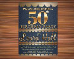 INVITATION for a 50 SURPRISE BIRTHDAY Party by UniqueGoldenCards Surprise Birthday, 50th Birthday Party, Birthday Invitations, Rose Street, York Restaurants, 50 Birthday Parties