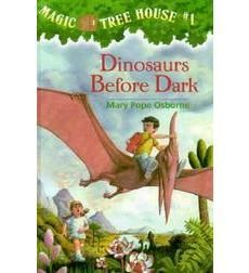 Magic Tree House, by Mary Pope Osborne.  In the first of a the series a brother and sister tree house takes them to the time of the dinosaurs.