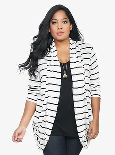 Striped Draping Open-Front Cardigan | Torrid