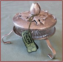 Retro Rodney Kent Hammered Aluminum Covered Candy Dish...original tags...$45.00