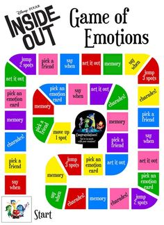 Free Printable Inside Out Emotions Game! Image only, no link. Emotions Activities, Social Skills Activities, Counseling Activities, Anger Management Activities For Kids, Mental Health Activities, Critical Thinking Activities, Teaching Social Skills, Group Counseling, Fun Learning