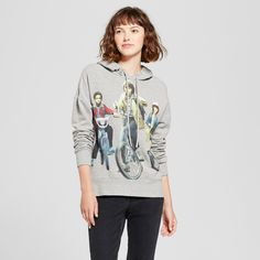 Women's Stranger Things Bike Trio Graphic Hoodie (Juniors') - Gray Xxl