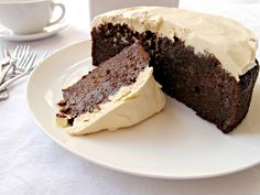Milk and Honey: Guinness Chocolate Cake with Creme Fraiche Topping