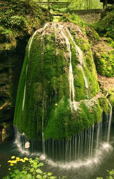 """Bigar Waterfall    Located in Caraș-Severin county (westeren part of Romania), the  locals call it  """"the miracle from the Minis Canyon"""" and """"Coronini"""".  It is a part of the Minis River. Thisr waterfall is almost 8 meters tall, and covered year round with a green layer of moss."""