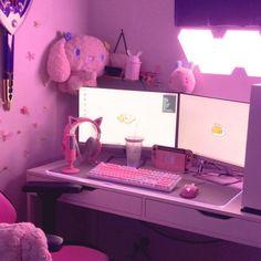 Gaming Room Setup, Pc Setup, Kawaii Bedroom, Video Game Rooms, Cute Room Ideas, Game Room Design, Gamer Room, Pink Room, Aesthetic Room Decor
