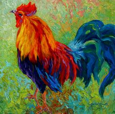 Rooster Paintings Large | - Rooster Painting by Marion Rose - Band Of Gold - Rooster Fine Art ...