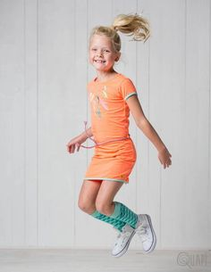 Quapi | Dress Fajah Coral | Kneesocks Fara 2 Abstract Mint