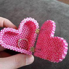 Engagement heart ring box perler beads by the_modelmaker