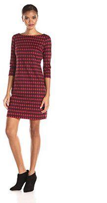 Nine West Women's Houndstooth Printed Ponte T-Shirt Dress - Shop for women's T-shirt - Fire Red/Black T-shirt