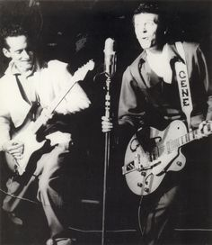 Gene Vincent, right, with Jerry Lee Merritt, Tokyo, Japan, 1959.  Courtesy Jerry Merritt. racewiththedevil.net