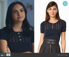 Veronica's navy buttoned top on Riverdale. Outfit Details: https://wornontv.net/83667/ #Riverdale
