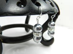 Gray Pearl Earrings Bridesmaid Jewelry  by BeadzNBling, $15.00 #weddings #bride #bridesmaid #jewelry #handmade