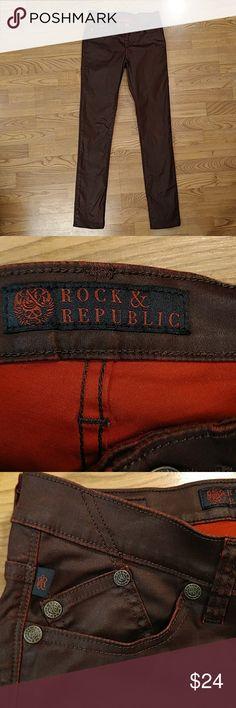 Rock & republic berlin skinny jeans Rock & republic skinny jeans dark red coated Berlin style sz 4 Rock & Republic Jeans Skinny