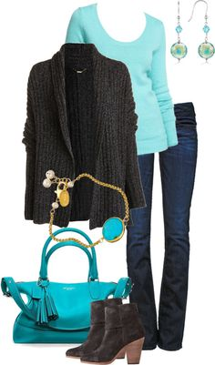 """""""Aqua Blue and Charcoal Gray"""" by simple-wardrobe ❤ liked on Polyvore"""