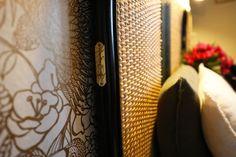 Medicis rattan headboard at Etche Ona Hotel, Pyla, France (close up on brass Drucker sign)