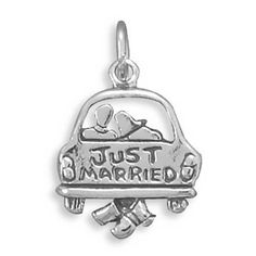Just Married Charm Sterling Silver Pendant Bride Groom in a Car