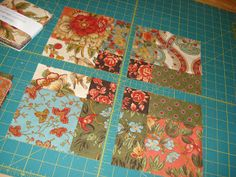 """Cut the 9-patch block right down the center in both directions. See the new blocks emerging? I think the new blocks are 7"""". I made a total of 5 9-patches using one charm pack of 45 squares. This gave me 20 of the 7"""" blocks. Two packages of charms squares made 40 blocks for a lap quilt. It was so fast and easy to make 10 9-patches and then I was ready to cut my blocks."""