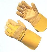 """Premium Top Grain Leather Palm Gauntlet Cuff Work Gloves.  Our Best Top Grain! These 4 1/2"""" waterproof gauntlet cuff, yellow grain leather palm gloves are our most popular style leather work glove, ideal for many industrial jobs."""